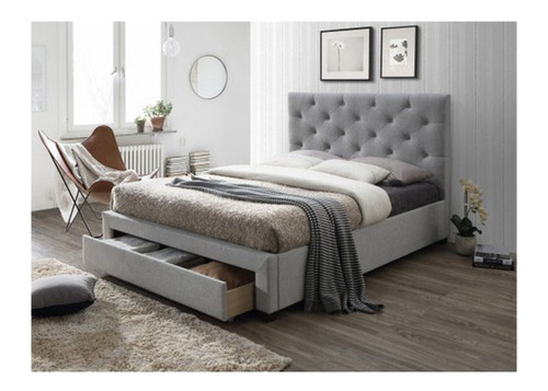 QUEEN POPPY  FABRIC BED WITH STORAGE - GREY