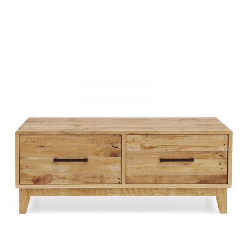 SMITHS RECYCLED PINE  2  DRAWER COFFEE TABLE - (MODEL:17-16-18-20-12-1-14-4 ) - RUSTIC