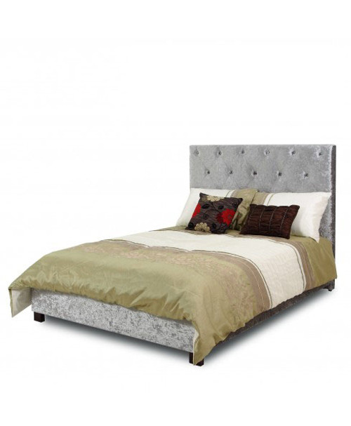 DOUBLE ROSIE HIGH BACK VELVET FABRIC BED - SILVER GREY