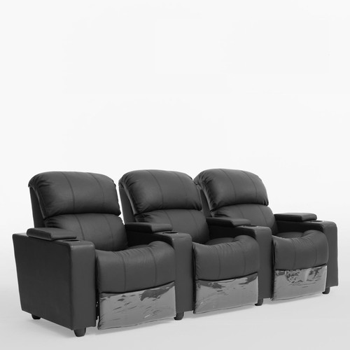 NIKKI GENUINE LEATHER 3 SEATER  RECLINER WITH 3 CUP HOLDERS - BLACK