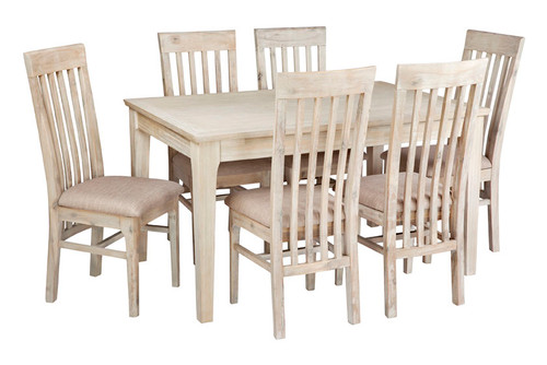BRIGHTING 7 PIECE HARDWOOD DINING SETTING  - 1400(W) x 900(D) & SLATTED CHAIRS (PADDED) - NATURAL