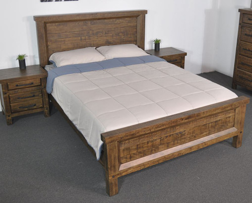 CHRISTINE RECYCLED PINE QUEEN 3 PIECE BEDSIDE  BEDROOM SUITE - AGED ROUGH SAWN