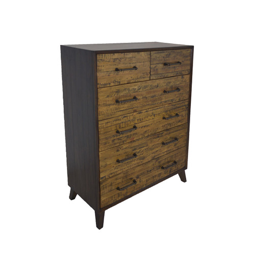 HASTINGS  6 DRAWERS RECYCLED TIMBER TALLBOY CHEST -  DARK / AGED ROUGH SEWN
