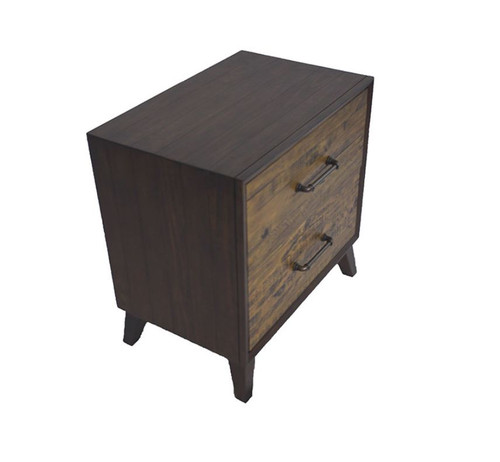 HASTINGS  2 DRAWERS RECYCLED TIMBER TALLBOY CHEST -  DARK / AGED ROUGH SEWN