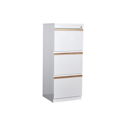 CALA 3 DRAWERS FILE CABINET - HIGH GLOSS WHITE  / CYPRESS TRIM