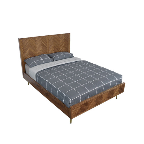 KING TOULOUSE  OAK TIMBER BED WITH METAL LEGS - CLASSIC  OAK /GOLD