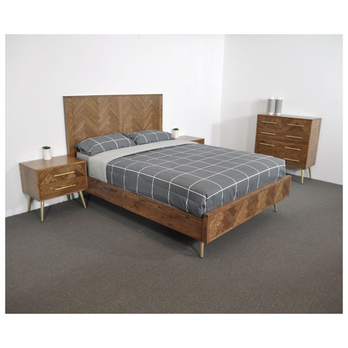 TOULOUSE QUEEN 4  PIECE (TALLBOY ) OAK TIMBER  BEDROOM SUITE -CLASSIC  OAK / GOLD
