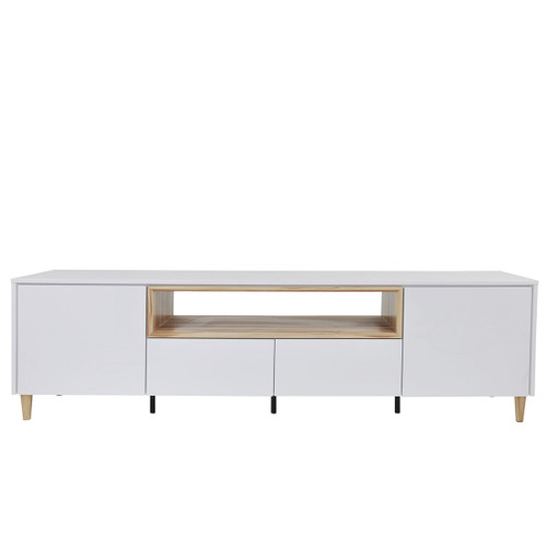 JACQUELINE 2.2 ENTERTAINMENT UNIT WITH  2 DOORS & 2 DRAWERS - HIGH GLOSS WHITE / CYPRESS