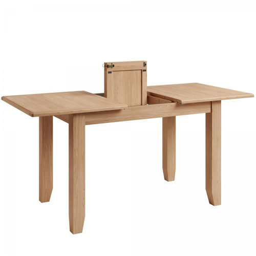 ELEGANCE SMALL OAK EXTENSION DINING TABLE - 1200/1600MM - (7-1-15) - LIGHT OAK