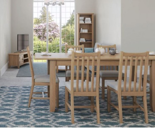 ELEGANCE 5 PIECE DINING SETTING WITH EXTENSION TABLE - 1200/1600 MM  (7-1-15) - LIGHT OAK