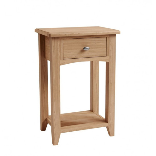 ELEGANCE 1 DRAWER OAK TELEPHONE TABLE  (7-1-15) - LIGHT OAK