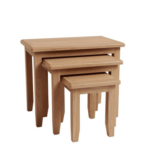 ELEGANCE OAK NEST OF 3 TABLES  (7-1-15) - LIGHT OAK