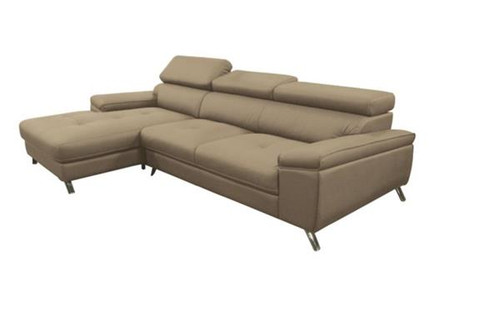EVERBRIGHT  2S + LHF CHAISE  LEATHER  LOUNGE SUITE (5-22-5-12-25-15)  - SAND