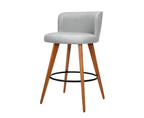 ARTISS SET OF 2 WOODEN KITCHEN/BAR STOOL -GREY FABRIC