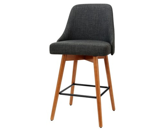 ARTISS SET OF 2 SWIVEL KITCHEN/BAR STOOL -CHARCOAL FABRIC