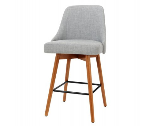 ARTISS SET OF 2 SWIVEL KITCHEN/BAR STOOL -GREY FABRIC