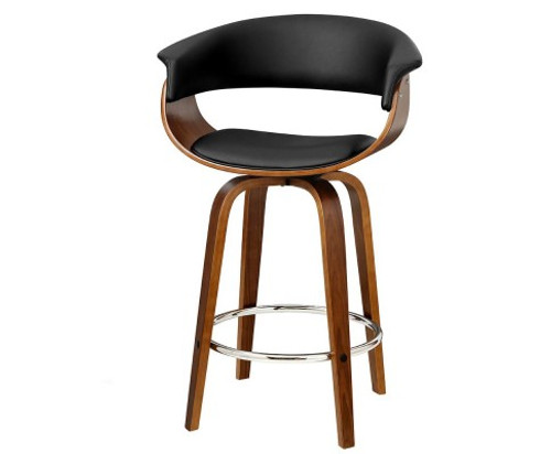 ARTISS LEATHERETTE  SWIVEL BAR STOOL -BLACK