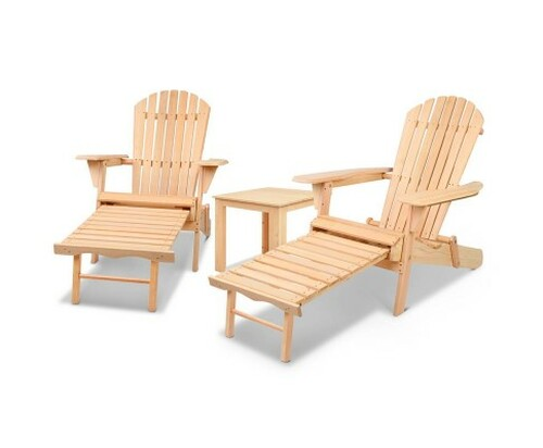 ORBITS 3 PIECE OUTDOOR WOODEN BEACH TABLE AND CHAIR SET - NATURAL
