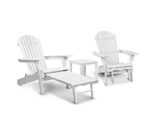 ORBITS 3 PIECE   OUTDOOR WOODEN BEACH CHAIR AND SIDE TABLE SET  WITH SLIDE-OUT FOOTSTOOL - WHITE