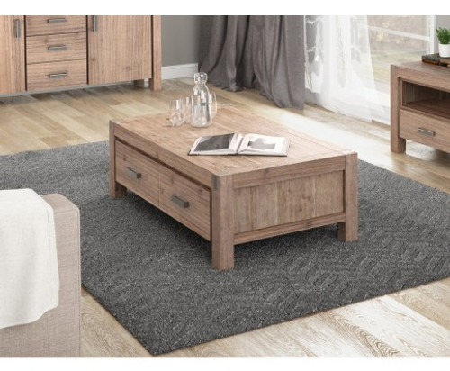 CANON 2 DRAWERS COFFEE TABLE - NATURAL FINISH