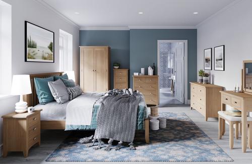 ELEGANCE  DOUBLE 4 PIECE TALLBOY OAK BEDROOM SUITE -(7-1-15) - LIGHT OAK