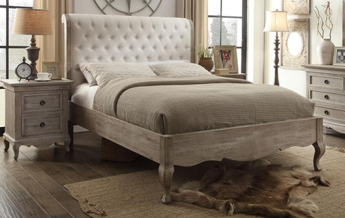 QUEEN CHARLES  EUROPEAN WHITE ASH LOW FOOT END BED FRAME WITH UPHOLSTERED BEDHEAD  (MODEL:3-8-1-12-12-9-19) - LIGHT-BROWN/ OFF WHITE