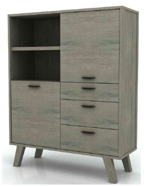 SUNSET  3 DRAWER 2 DOOR HIGHBOARD  1400(H)   -BRUSHED LIGHT GREY