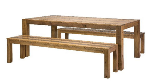 DISTILLERY DINING TABLE ONLY 2100L - RECYCLED PINE - 760(H) X 2100(W) -DRIFTWOOD