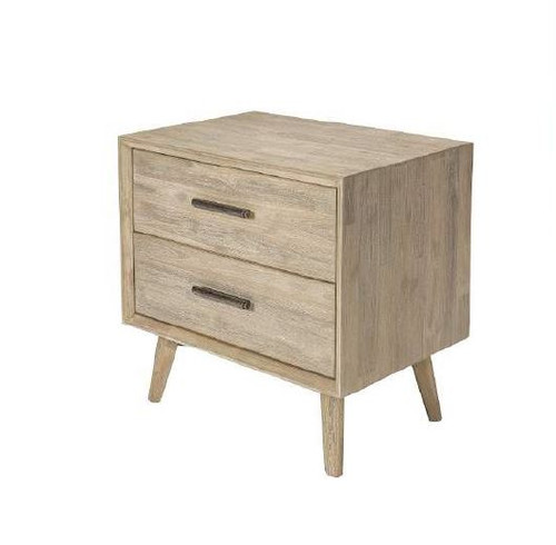 CHICAGO II 2 DRAWER  HARDWOOD BEDSIDE TABLE - SANDBLAST LIGHT GREY