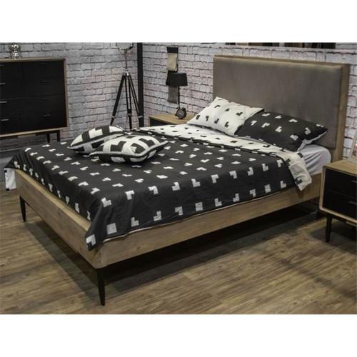 ALBA  KING 3 PIECE HARDWOOD BEDSIDE BEDROOM SUITE WITH CHICAGO II CASED GOODS   -  SANDBLAST LIGHT GREY