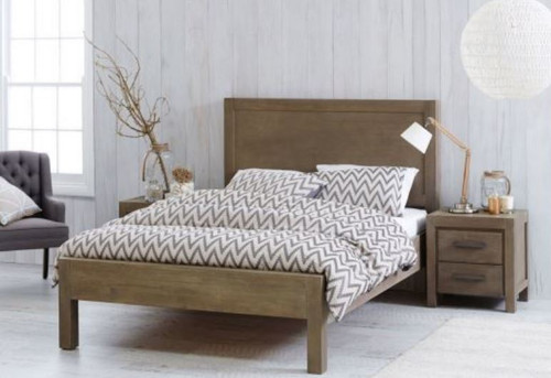 BARCELONA  ACACIA QUEEN  BED FRAME - GREY WASH