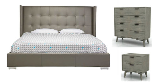 KING  BETTINO 4 PIECE TALLBOY BEDROOM SUITE WITH TORREY CASEGOODS - GREY