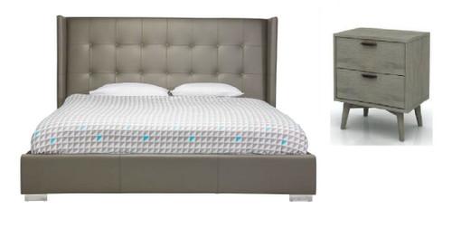 KING  BETTINO 3 PIECE BEDSIDE  BEDROOM SUITE WITH TORREY CASEGOODS - GREY