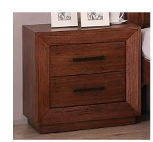 CANYON TIMBER  2 DRAWERS BEDSIDE TABLE - GUN SMOKE