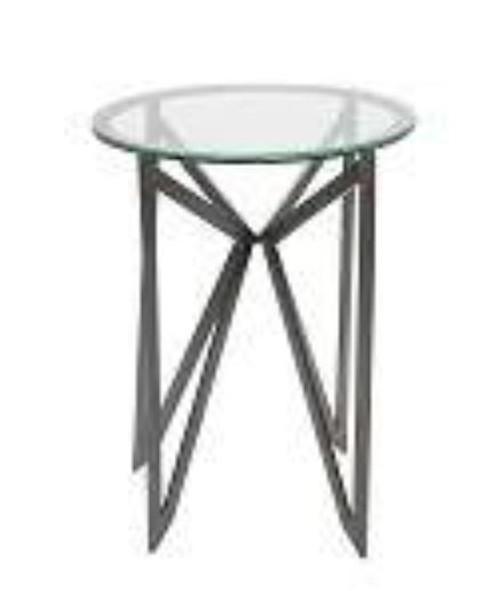 GRAYSON  GLASS BEDSIDE TABLE 450(L) X 450(W) - BLACK