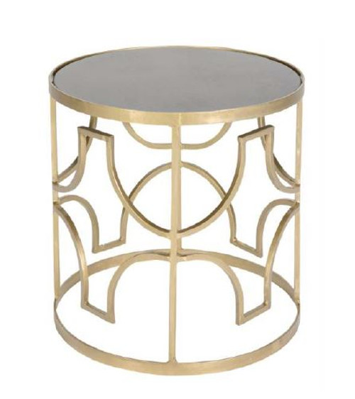 HALEY IRON GRILL BEDSIDE TABLE  - GOLDEN