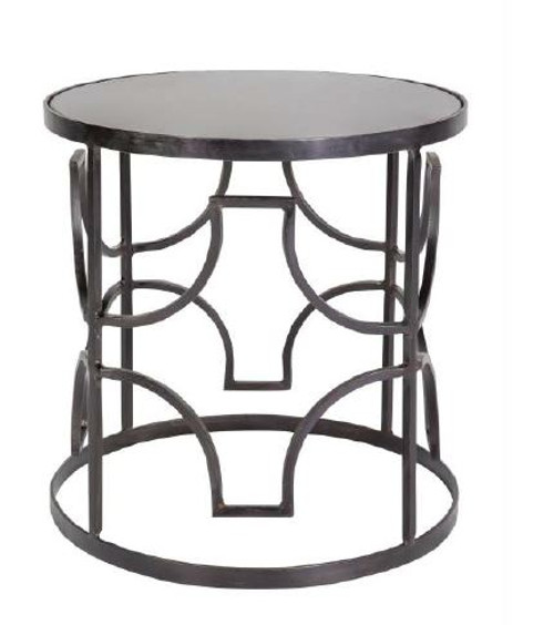 HALEY IRON GRILL BEDSIDE TABLE  - BLACK