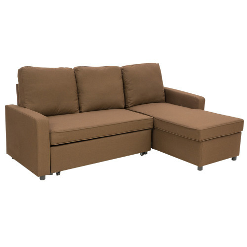 LUMEN  MODULAR  FABRIC SOFA BED WITH STORAGE AND LEFT CHAISE - BROWN