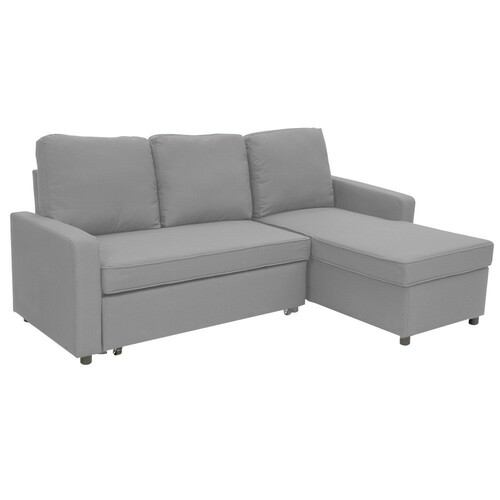 LUMEN  3 SEATER MODULAR FABRIC  SOFA BED WITH STORAGE AND LEFT CHAISE - LIGHT GREY