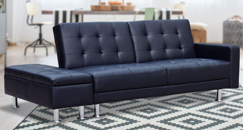 ABRAHAM   3 SEATER LEATHERETTE  SOFA BED WITH OTTOMAN - BLACK