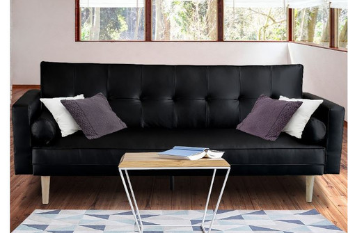 LEVIS 3 SEATER LEATHERETTE  SOFA BED  - BLACK