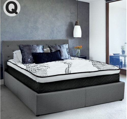 QUEEN GRACE FABRIC GAS-LIFT BED FRAME WITH TUFTED HEADBOARD -DARK GREY
