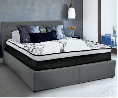 DOUBLE GRACE FABRIC GAS-LIFT BED FRAME WITH TUFTED HEADBOARD -DARK GREY