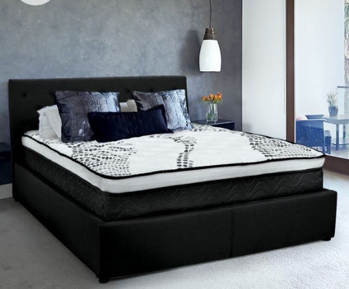 DOUBLE GRACE FABRIC GAS-LIFT BED FRAME WITH TUFTED HEADBOARD - BLACK
