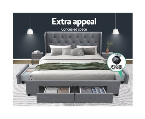 DOUBLE MILA FABRIC BED FRAME WITH 4 STORAGE DRAWERS - (BFRAME-F-MILA-D-GY-ABC) - GREY