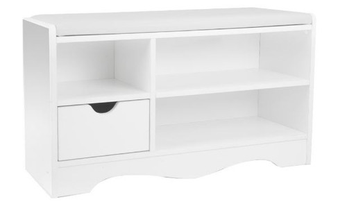 WENDY 1 DRAWER SHOE RACK  BENCH AND 3 COMPARTMENTS - 450(H) x 800(W) -  WHITE