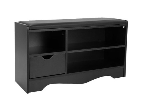 WENDY 1 DRAWER SHOE RACK  BENCH AND 3 COMPARTMENTS - 450(H) x 800(W) -  BLACK