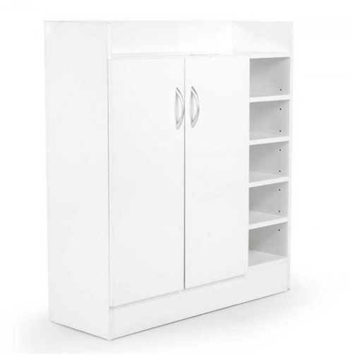 DANNY 2 DOOR SHOE CABINET WITH 21 COMPARTMENTS - 900(H) x 800(W) -   WHITE
