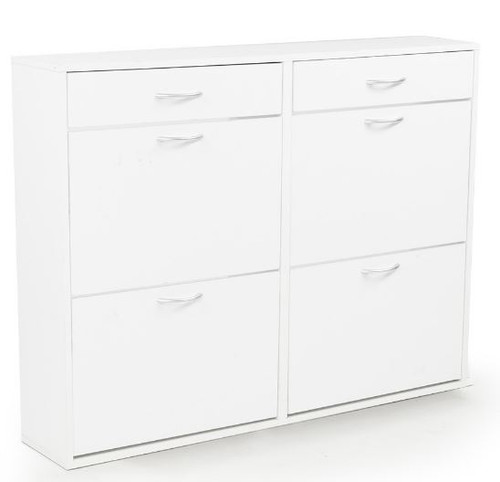 SHOE CABINET WITH 4 STORAGE COMPARTMENTS & 2 DRAWERS - 920(H) x 1200(W) - WHITE