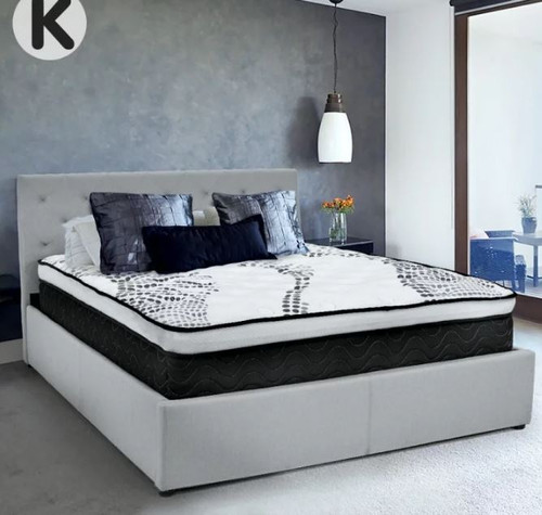 KING GRACE LINEN FABRIC GAS LIFT STORAGE BED FRAME WITH TUFTED HEADBOARD - BLACK